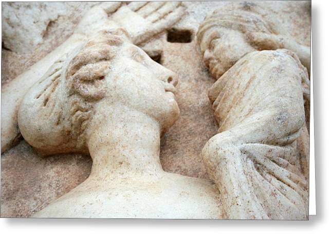 Roman Relief Of Mother And Child At Aphrodisias Greeting Card by Tracey Harrington-Simpson