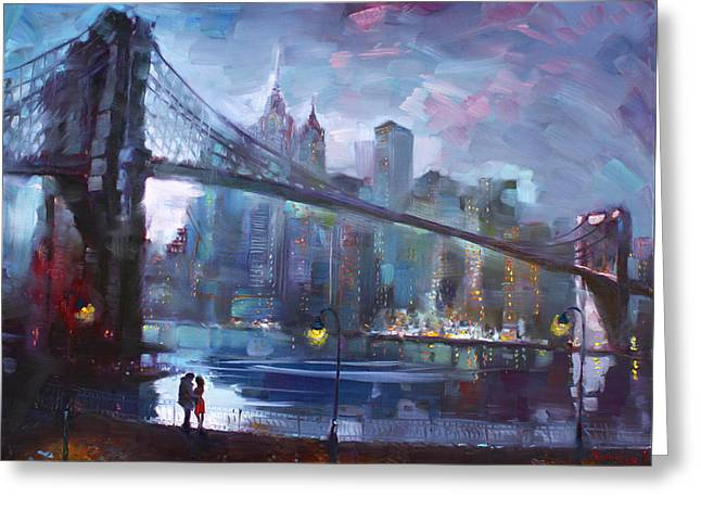 Romance By East River II Greeting Card