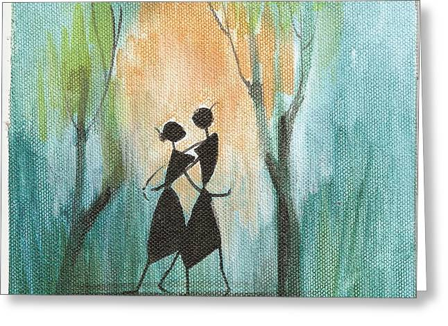Romance In Blue Greeting Card by Chintaman Rudra
