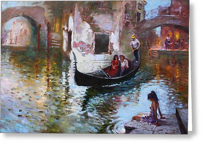 Romance In Venice 2013 Greeting Card by Ylli Haruni