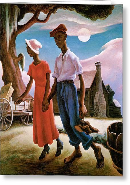 Romance Greeting Card by Thomas Hart Benton