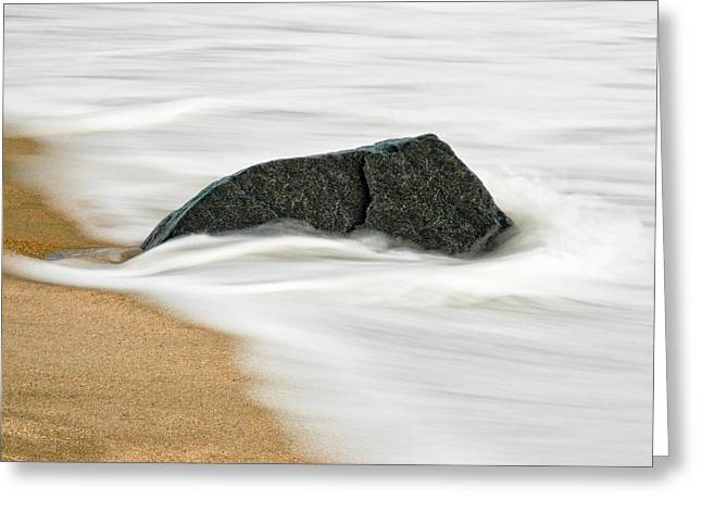Surf Caresses A Lonely Stone Greeting Card