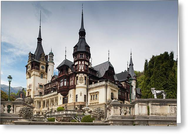 Romania, Transylvania, Sinaia, Peles Greeting Card by Walter Bibikow