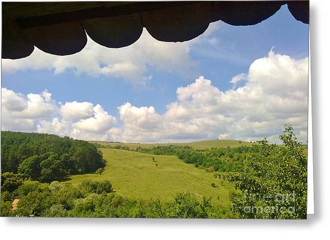 Greeting Card featuring the photograph Romanian Hills by Ramona Matei