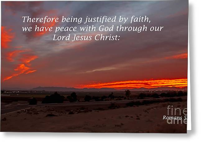 Romans 5 Verse 1 Greeting Card by Robert Bales