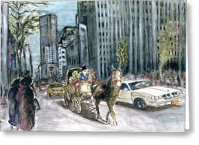New York 5th Avenue Ride - Fine Art Painting Greeting Card