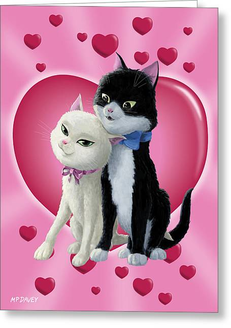 Romantic Cartoon Cats On Valentine Heart  Greeting Card by Martin Davey