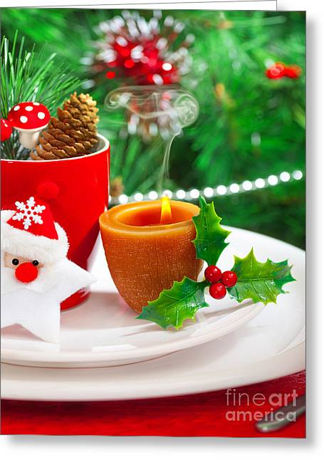 Romantic Christmastime Dinner Greeting Card by Anna Om