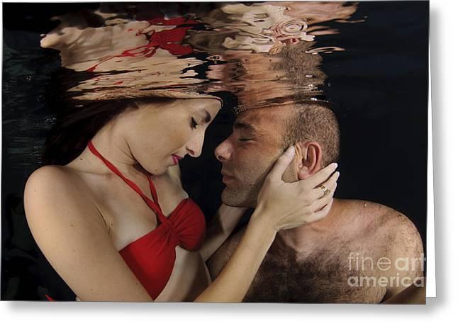 Romantic Couple Underwater Greeting Card by Hagai Nativ