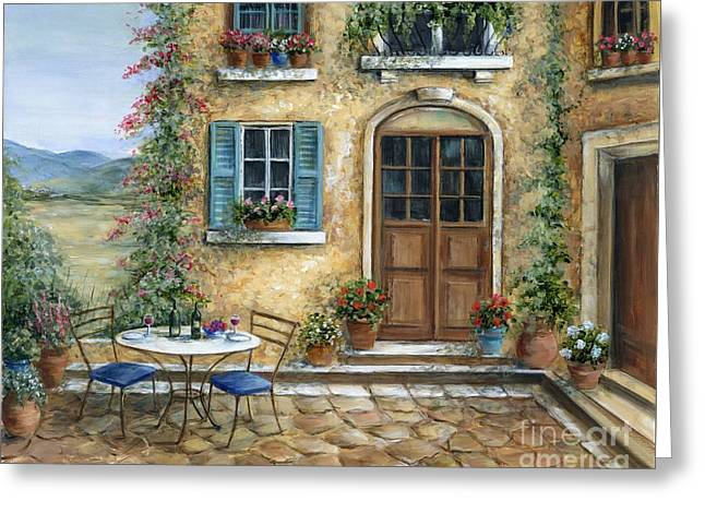 Romantic Courtyard Greeting Card