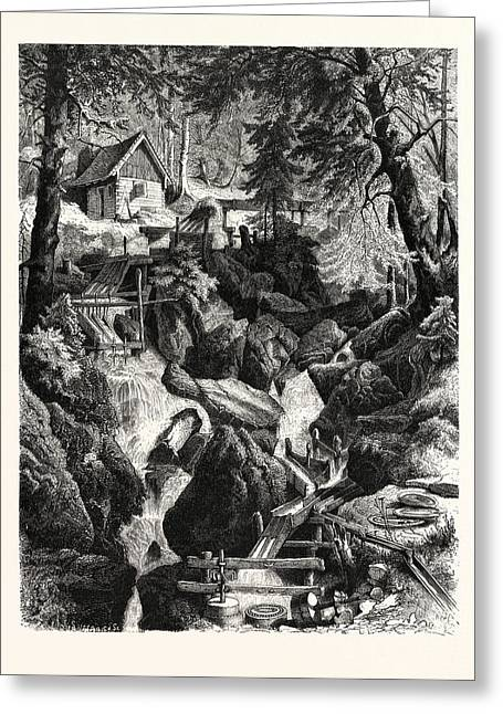 Romantic Industries Of The Alps Marble Mills Greeting Card