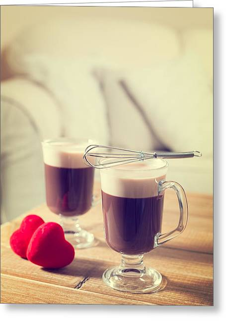 Romantic Irish Coffees Greeting Card by Amanda Elwell