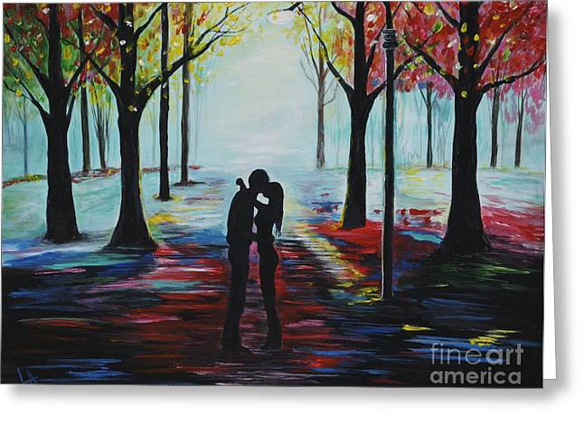 Romantic Kiss Greeting Card by Leslie Allen