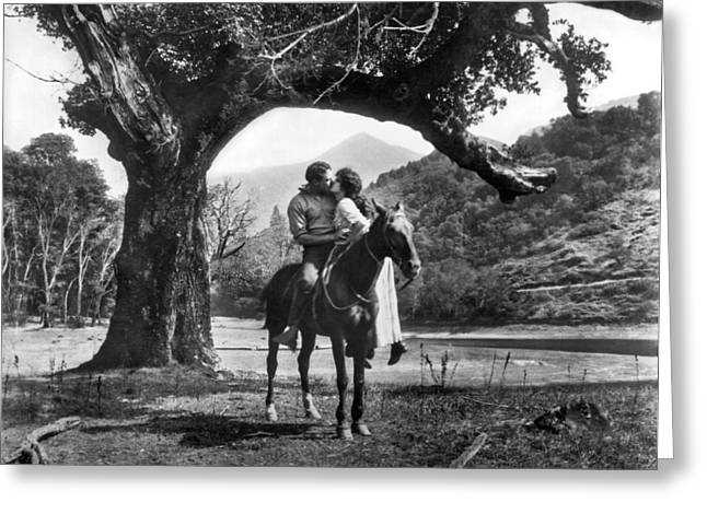 Romantic Kiss On Horseback Greeting Card by Underwood Archives