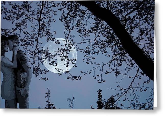 Greeting Card featuring the photograph Romantic Moon 2  by Angel Jesus De la Fuente