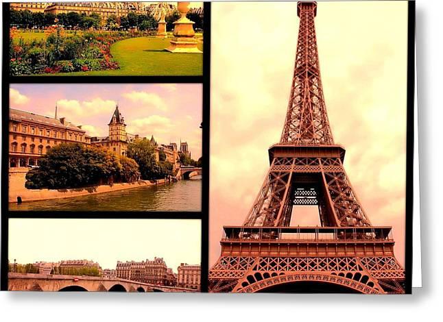 Romantic Paris Sunset Collage Greeting Card by Carol Groenen