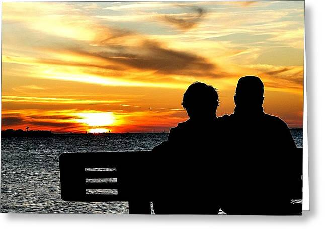Romantic Sunset Greeting Card by Cindy Croal
