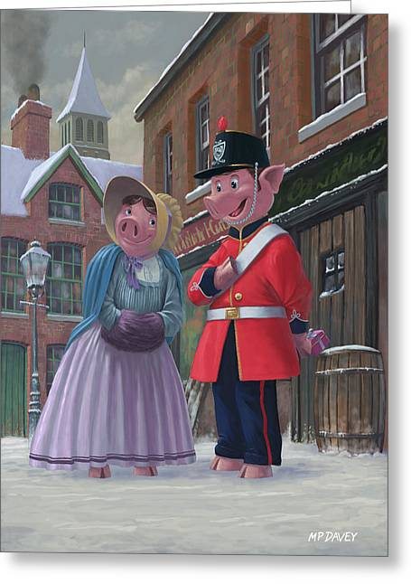 Romantic Victorian Pigs In Snowy Street Greeting Card by Martin Davey