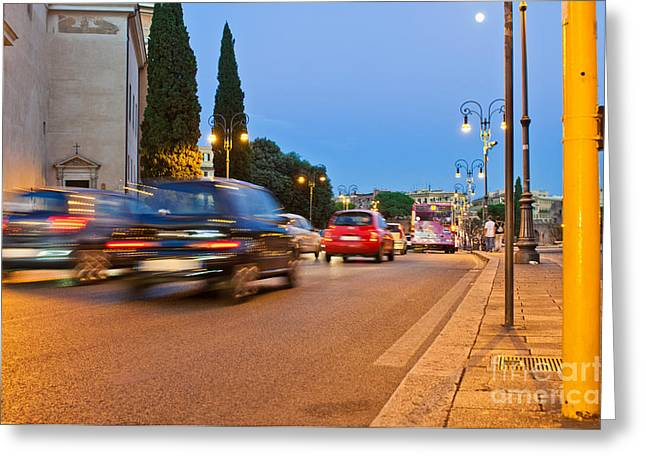 Rome At Night Greeting Card by Luis Alvarenga