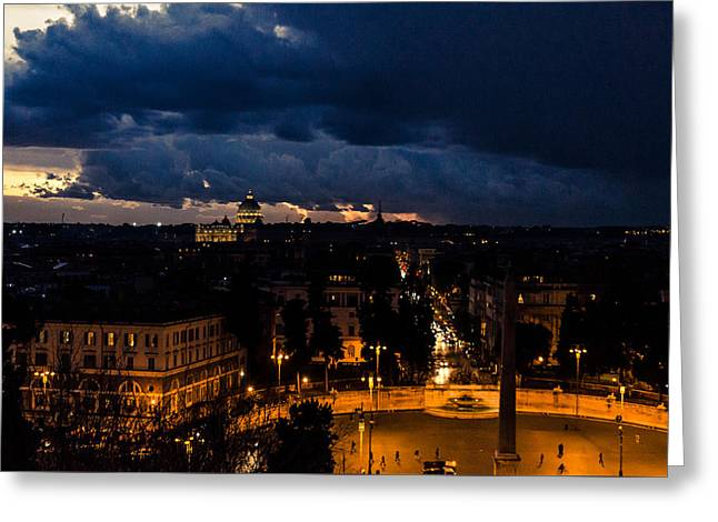 Rome Cityscape At Night  Greeting Card by Andrea Mazzocchetti