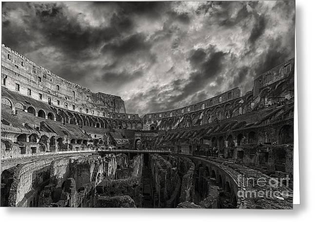 Rome Colosseum Interior Monochromatic Greeting Card