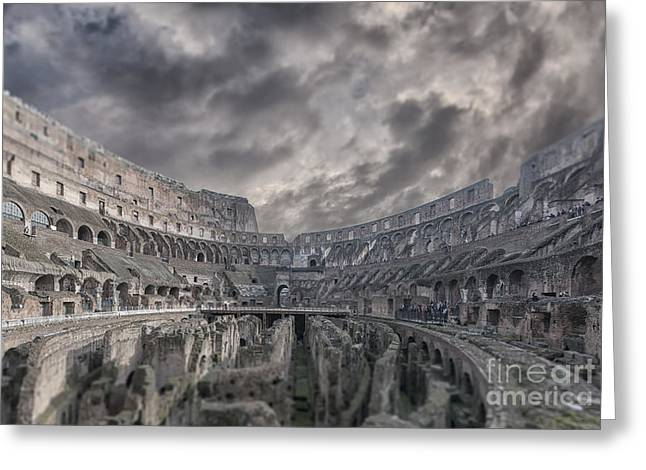 Rome Colosseum Interior Tilt Shift Greeting Card