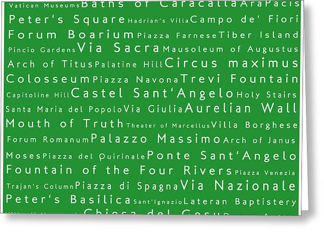 Italian word greeting cards page 2 of 4 fine art america rome in words green greeting card m4hsunfo