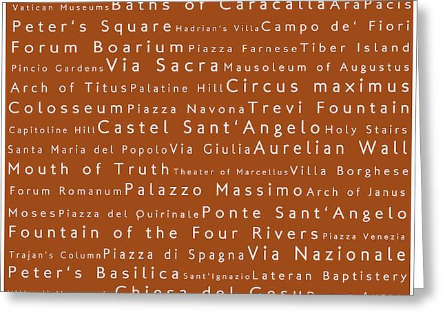 Rome In Words Toffee Greeting Card by Sabine Jacobs