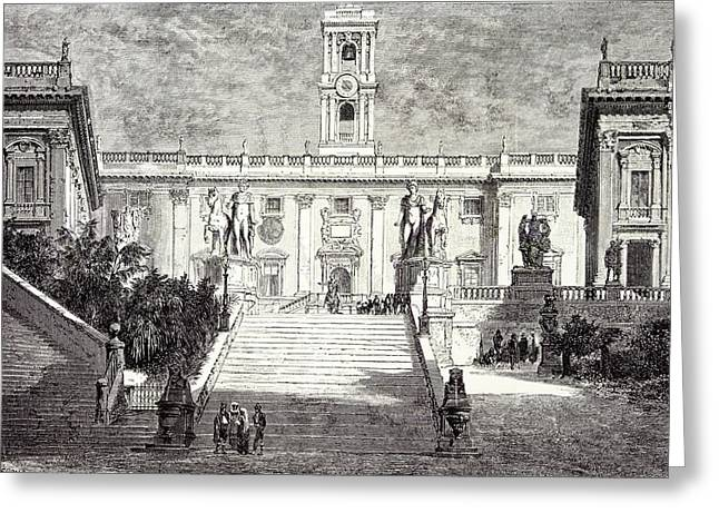 Rome Italy 1875 Facade Of The Senatorial Palace Greeting Card by Italian School