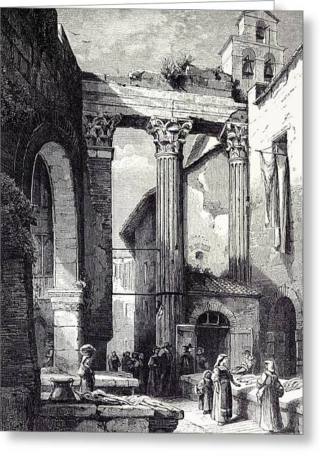Rome Italy 1875 Portico Of Octavia Side Of The Pescheria Greeting Card by Italian School
