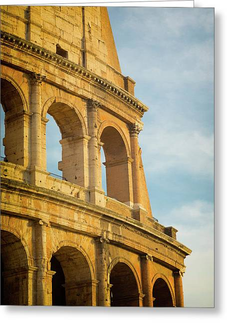 Rome, Italy. Exterior Of The Colosseum Greeting Card