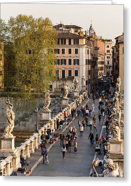 Rome, Italy. Santangelo Bridge Seen Greeting Card