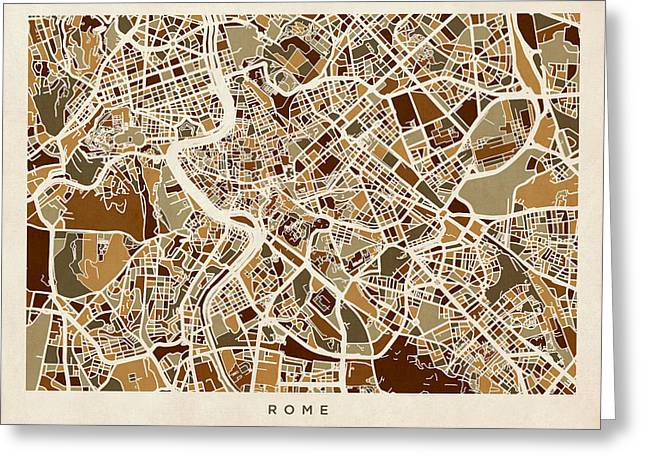Rome Italy Street Map Greeting Card