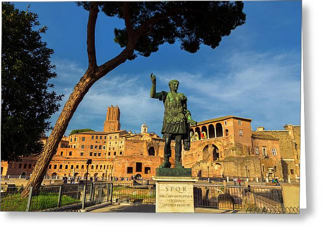 Rome, Italy. Trajan And Trajans Forum Greeting Card by Ken Welsh