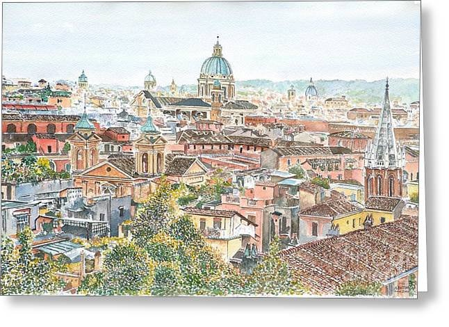 Rome Overview From The Borghese Gardens Greeting Card