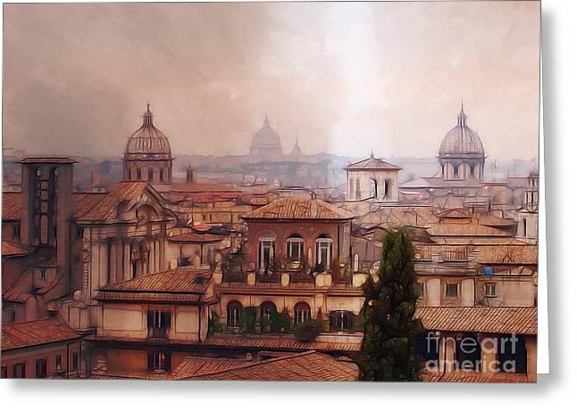 Rome Panorama Greeting Card by Lutz Baar