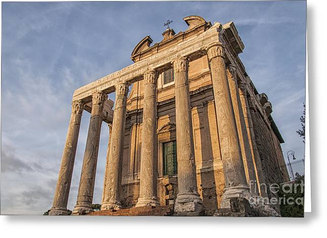 Rome Temple Of Antoninus And Faustina 01 Greeting Card by Antony McAulay