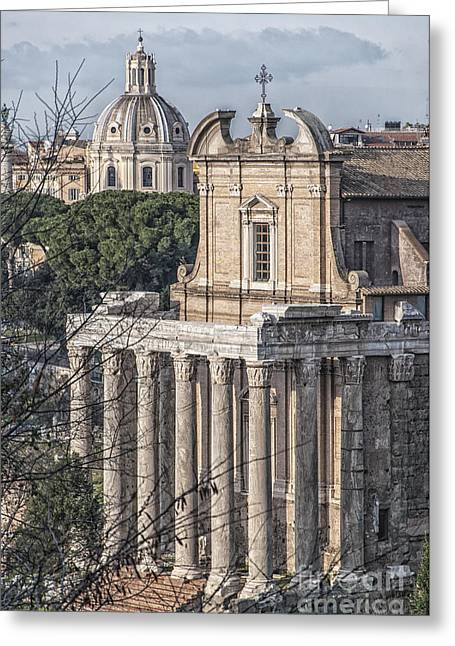 Rome Temple Of Antoninus And Faustina 02 Greeting Card by Antony McAulay
