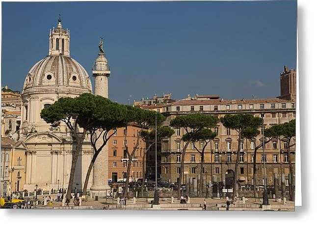 Rome - Umbrella Pines And Sunshine  Greeting Card by Georgia Mizuleva