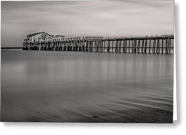Romeo's Pier Bw Greeting Card by Linda Villers