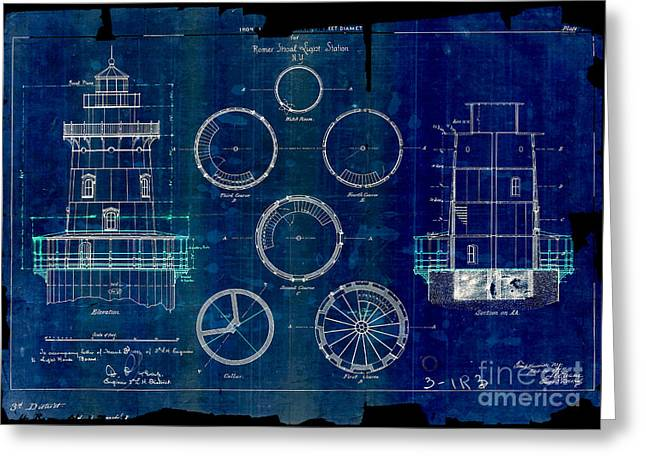 Romer Shoal Light Station Circa 1838 Blue Greeting Card by Jon Neidert