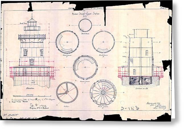 Romer Shoal Light Station Circa 1838 Greeting Card by Jon Neidert