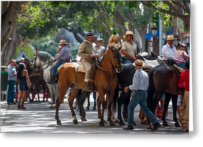 Romeria In Torremolinos. Spain Greeting Card by Jenny Rainbow