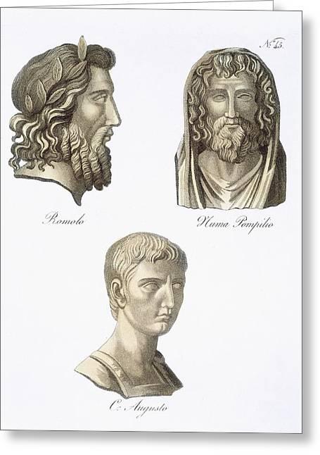 Romulus, Numa Pompilius And Augustus Greeting Card