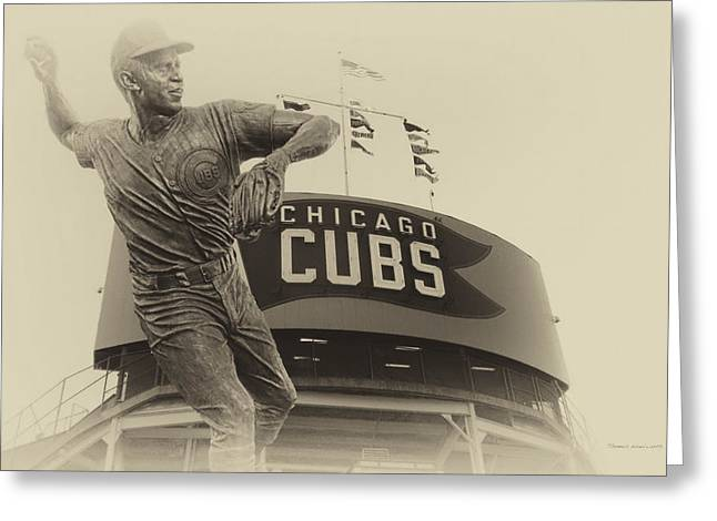 Ron Santo Chicago Cub Statue In Heirloom Finish Greeting Card by Thomas Woolworth