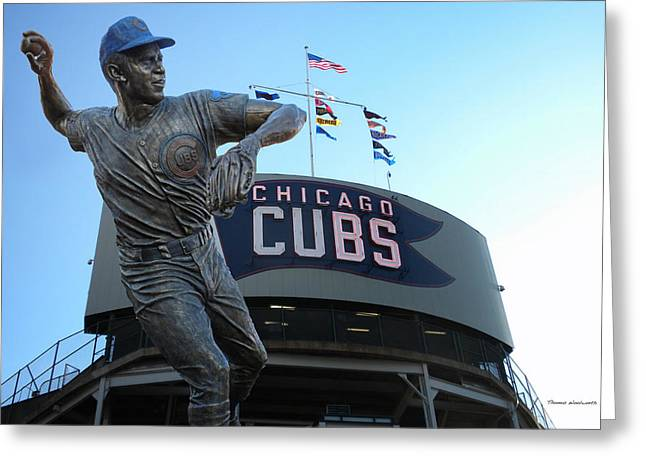 Ron Santo Chicago Cubs Statue Greeting Card by Thomas Woolworth