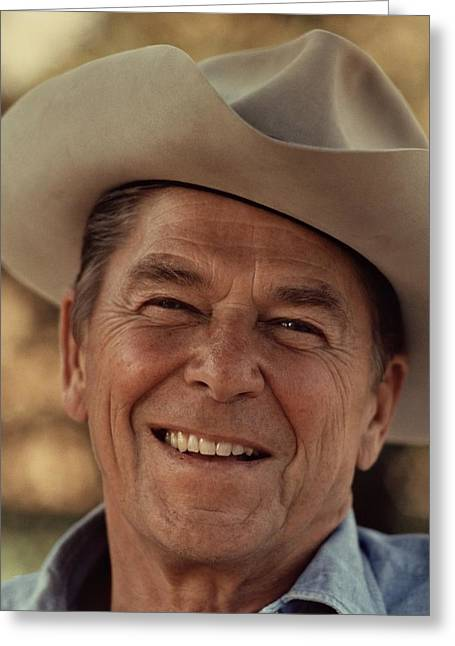 Ronald Reagan In 1976 At His Home At Rancho Del Cielo Greeting Card by Movie Poster Prints