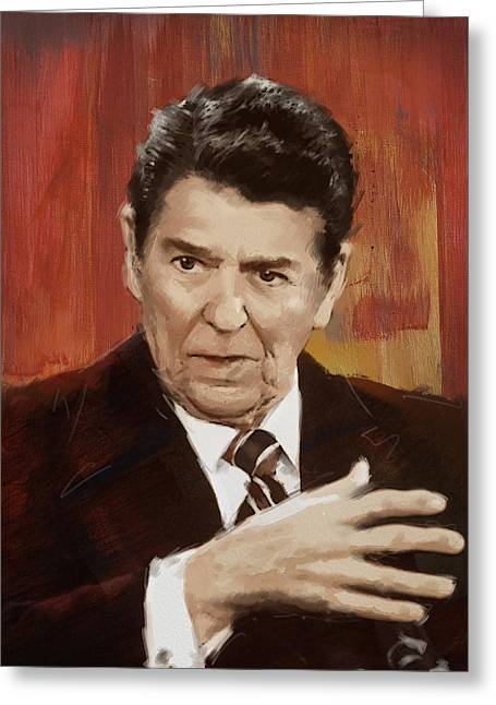Ronald Reagan Portrait 2 Greeting Card by Corporate Art Task Force