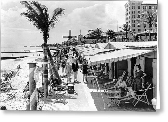Roney Plaza Cabana Sun Club Greeting Card by Underwood & Underwood