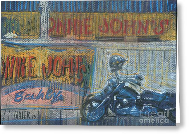 Greeting Card featuring the painting Ronnie's Bike by Donald Maier